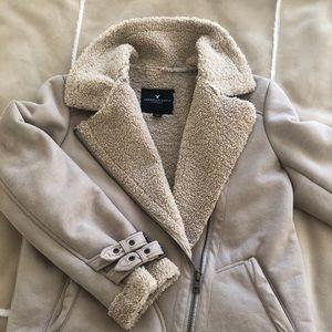 American Eagle Suede Shearling Jacket